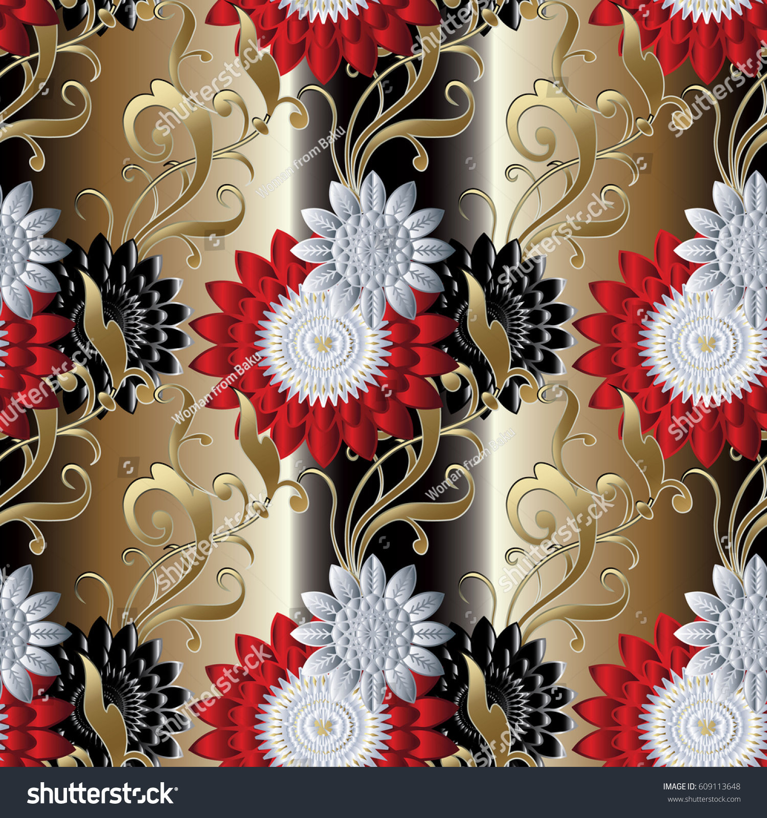 Floral Seamless Pattern Gold Striped Flourish Stock Vector Royalty