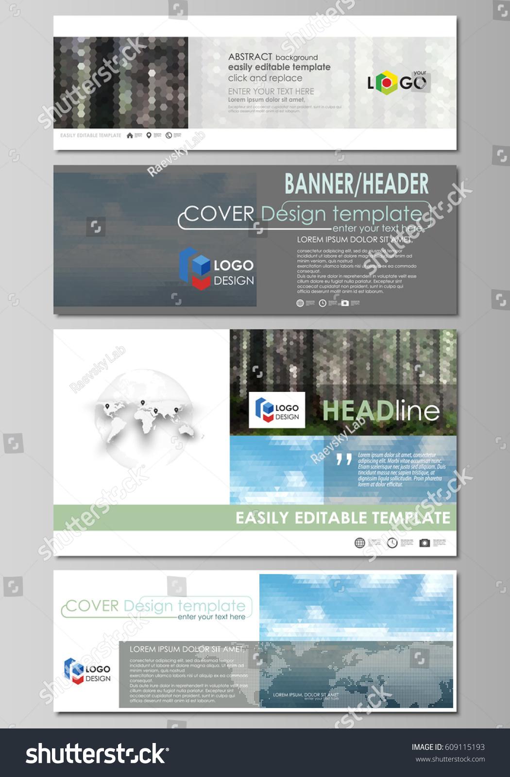 Social Media Email Headers Set Modern Stock Vector 609115193 ...