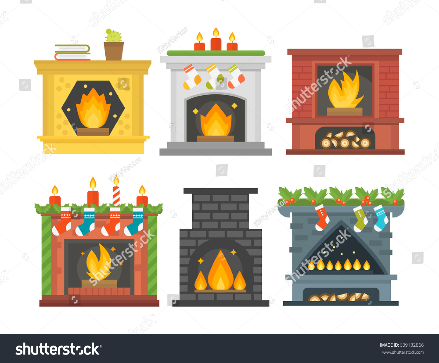 flat style fireplace icon design house stock vector 609132866