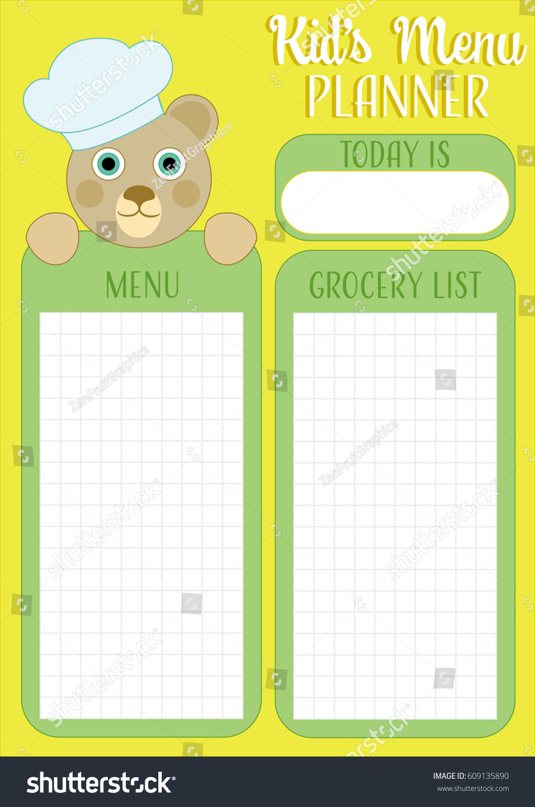 Daily Meal Planner Kids Menu Planner Stock Vector Royalty Free