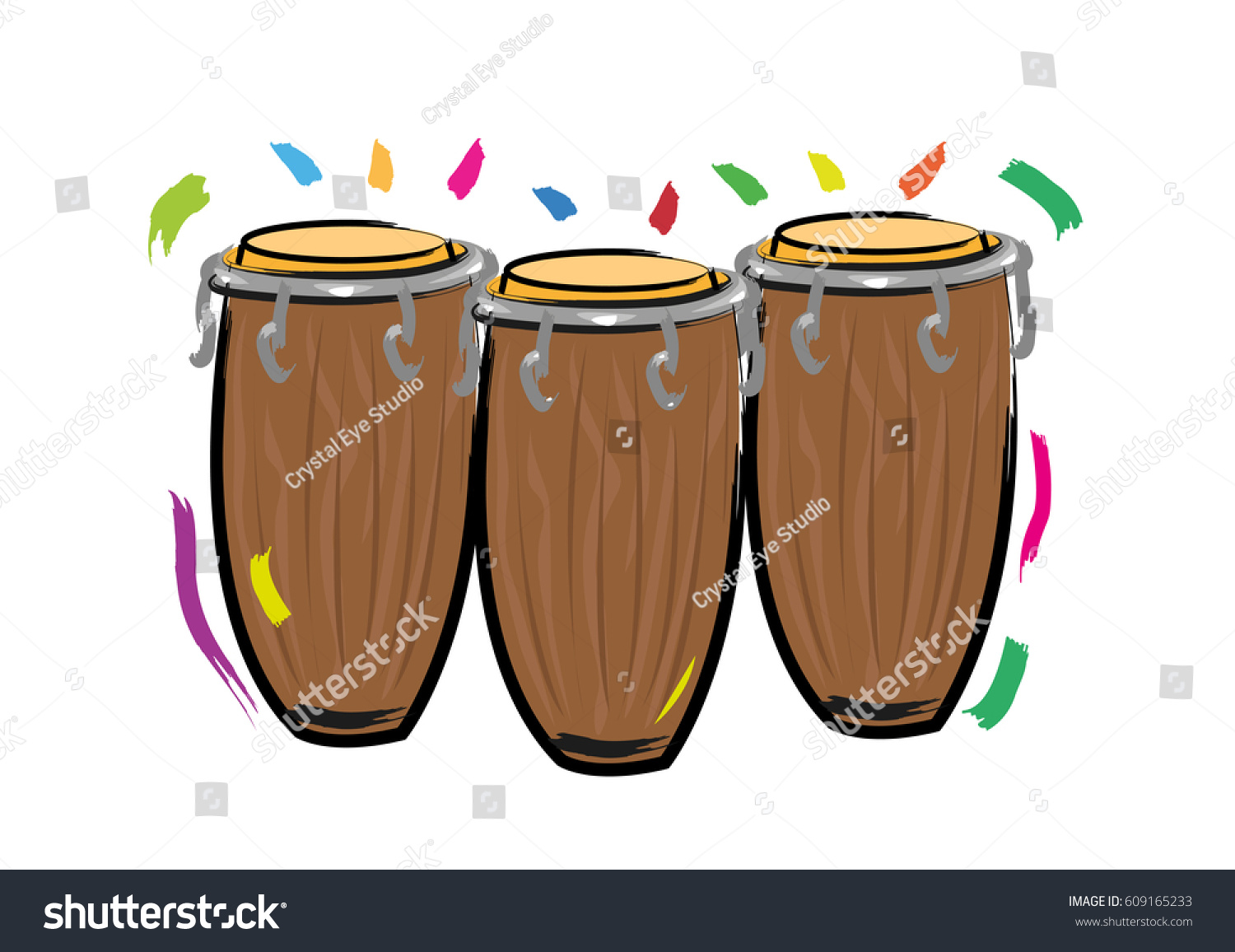 Latin Drums Or Conga Abstract Contemporary Illustration Editable Clip Art