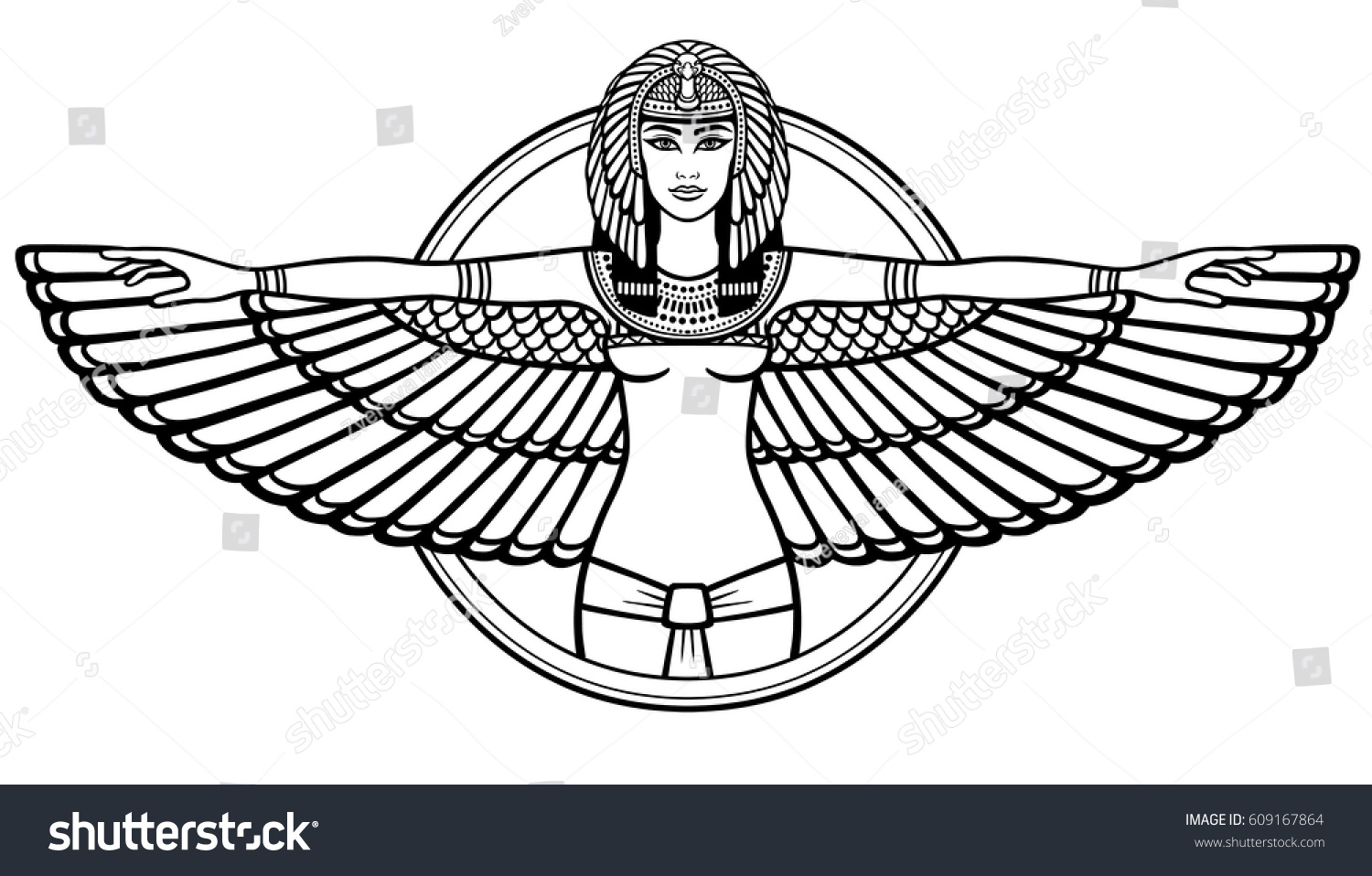animation portrait ancient egyptian winged goddess stock vector