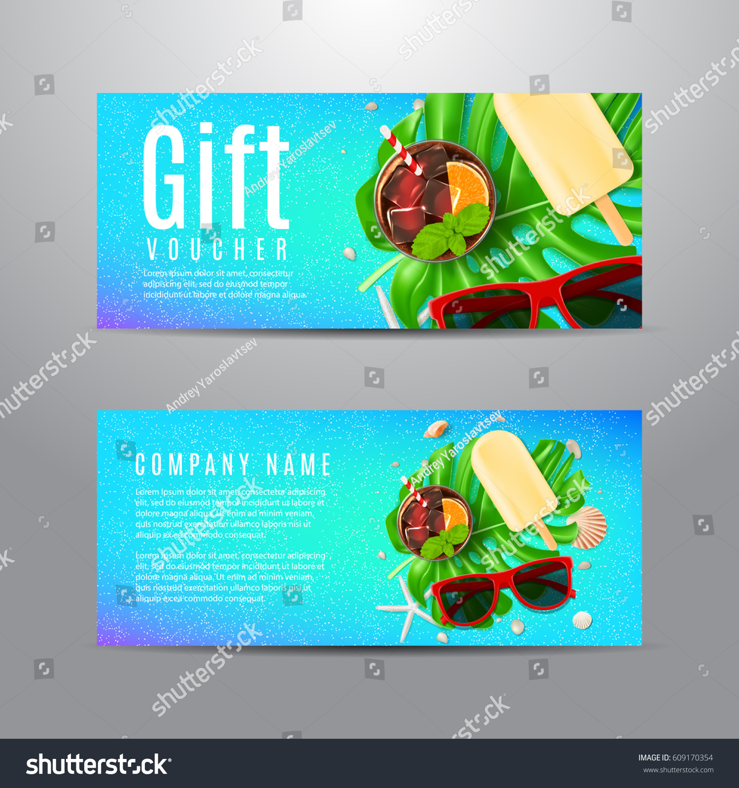 Blue Gift Voucher Summer Composition Unusual Stock Vector (Royalty ...
