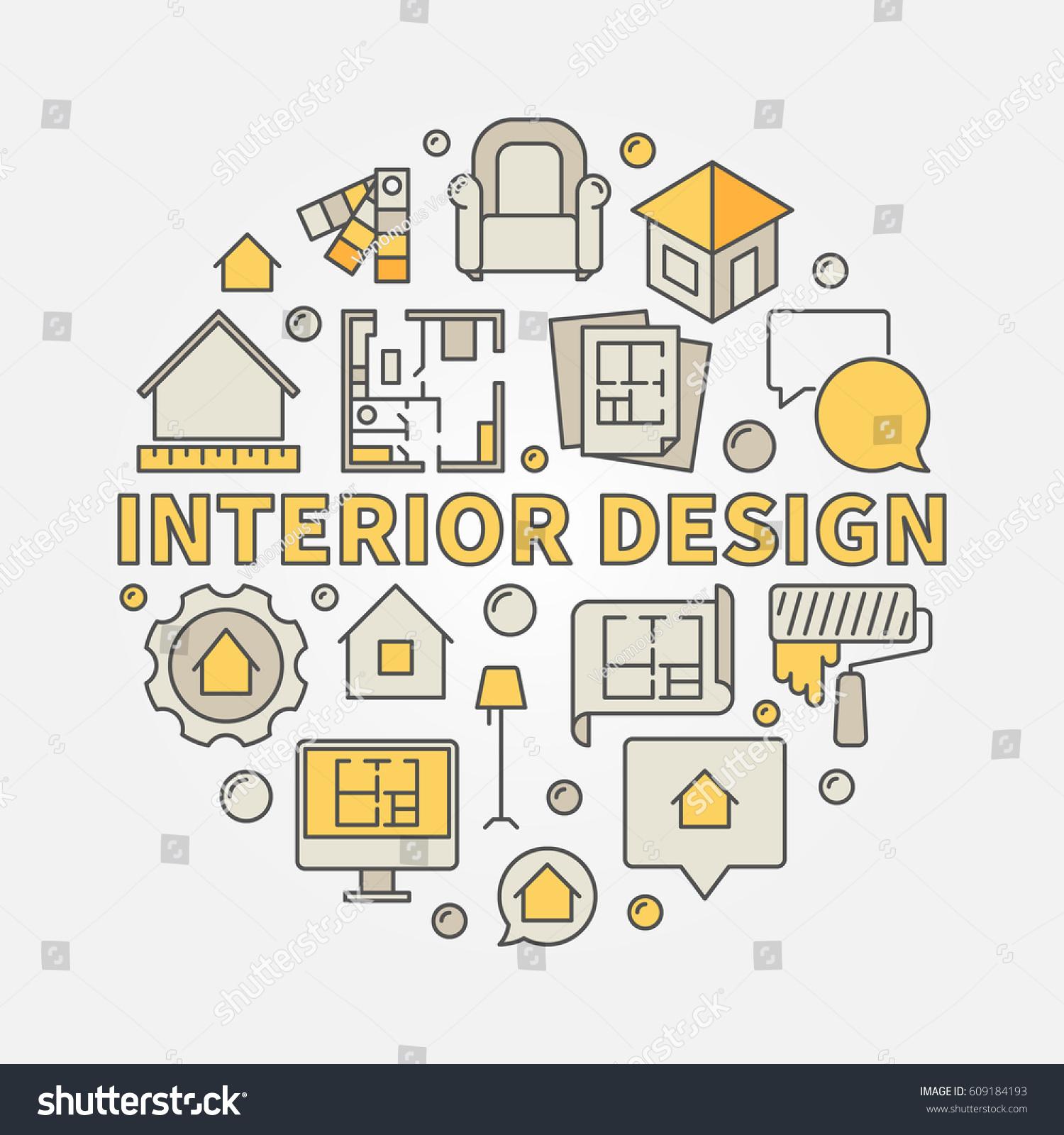 Interior Design Colorful Illustration Vector Circular