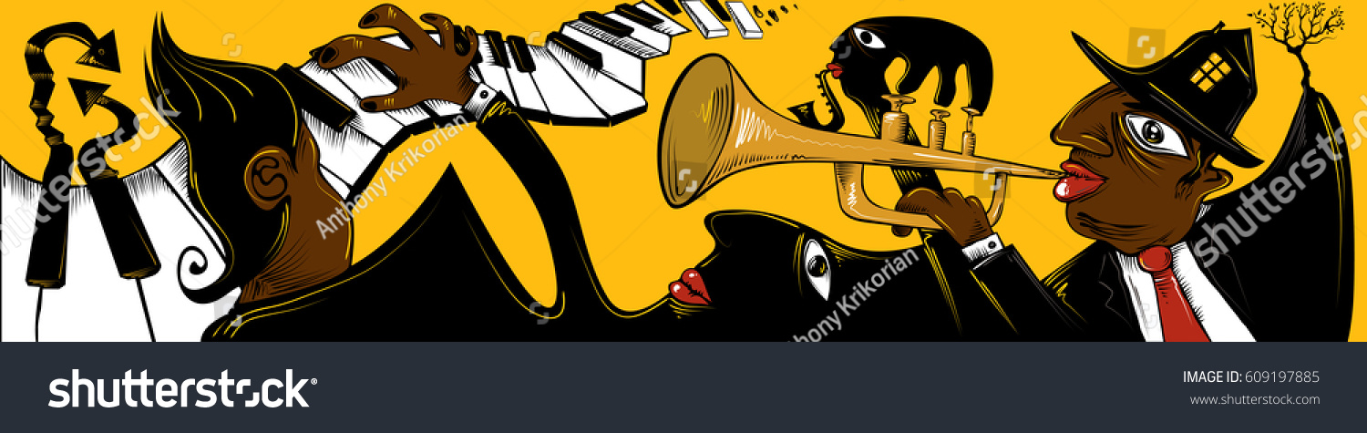 Jazz Banner Band Playing Event Stylish Stock Vector (2018) 609197885 ...