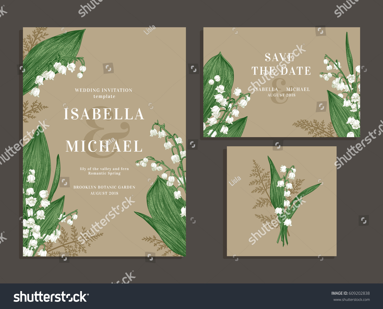 vintage wedding set spring flowers lilies stock vector royalty free