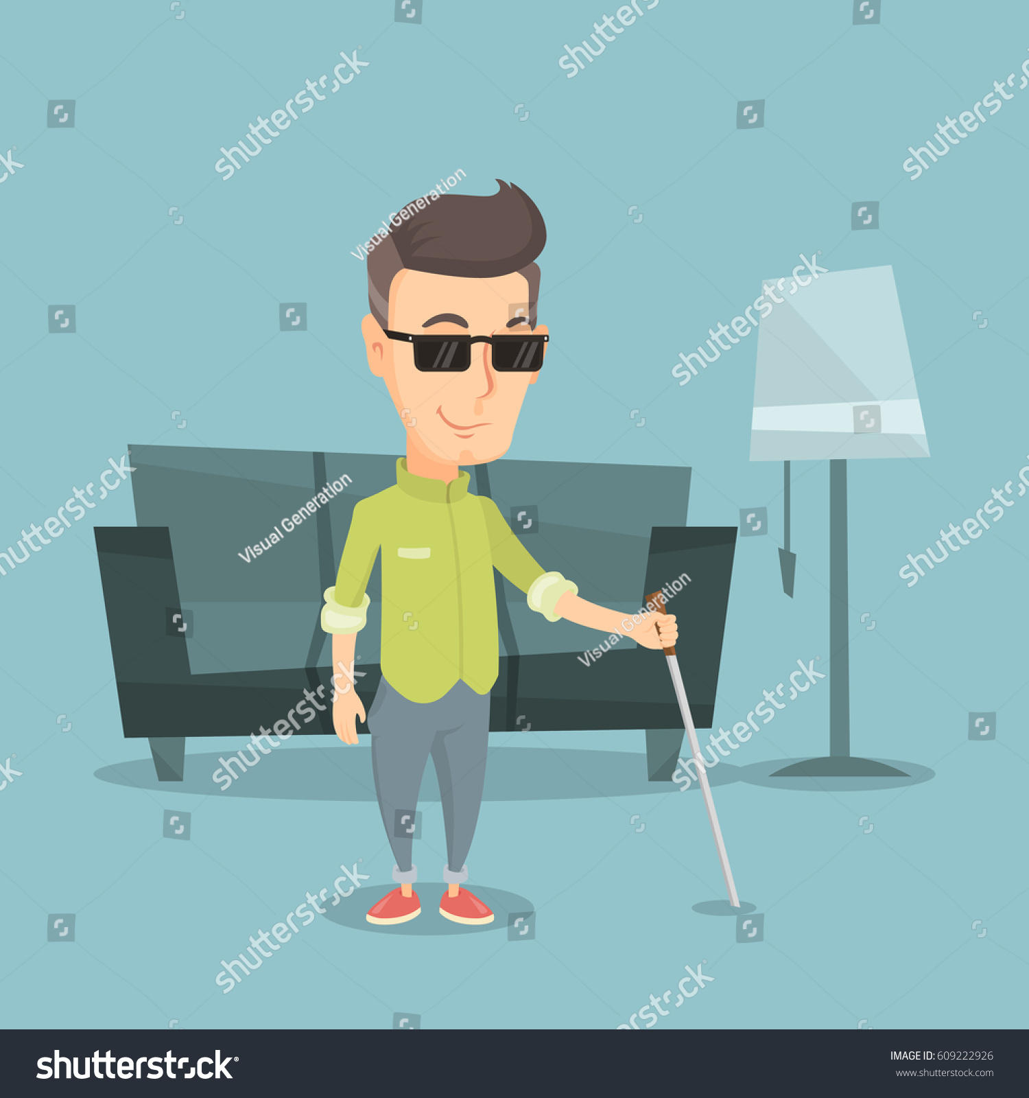 caucasian blind man standing walking stick stock vector royalty