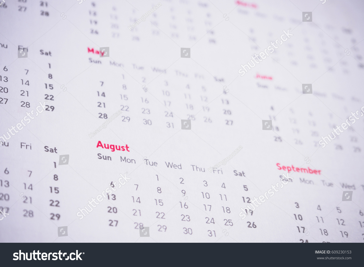Year To Date Calendar : Months dates on calendar new year stock photo