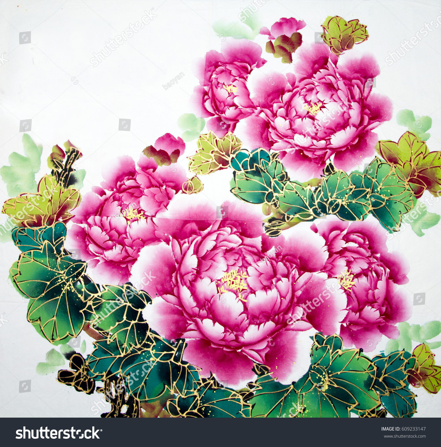 Chinese Traditional Painting Flowers Stock Illustration 609233147