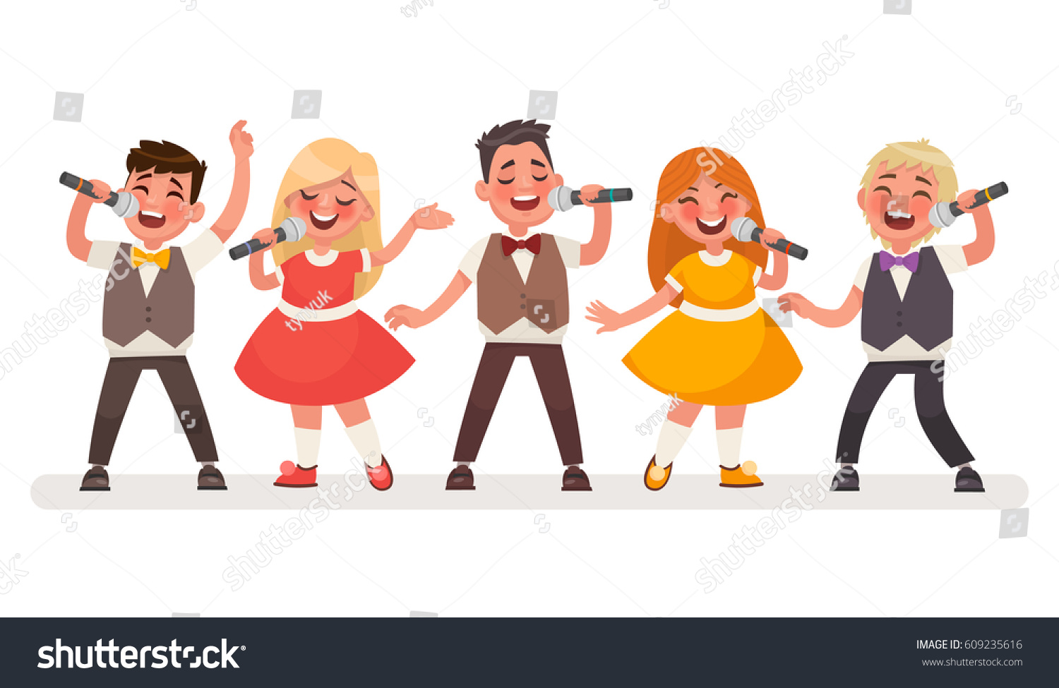 Set Small Singers Childrens Music Group Stock Vector ...