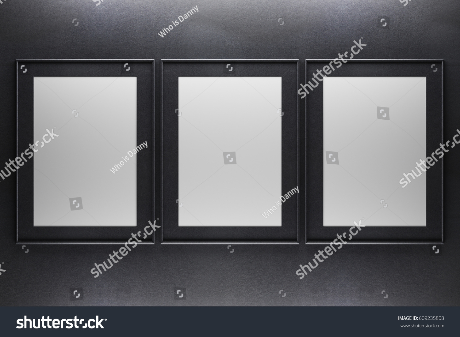 Three blank picture frames on dark concrete background. Mock up, 3D ...