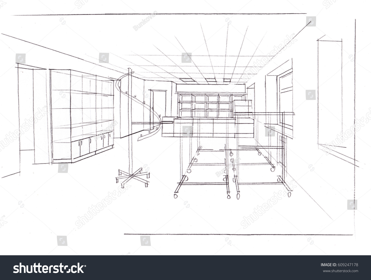 A sketch of the interior of a clothing store the pencil drawing black and
