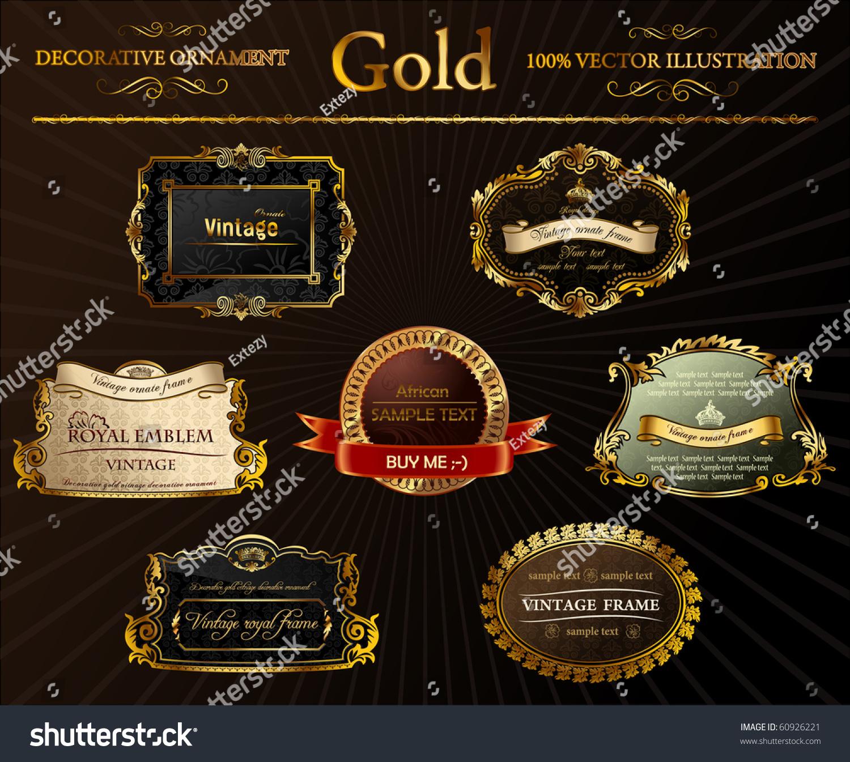 65c0025d6c0 Gold vintage frames ornament. Calligraphic elements set. Vector black decor  labels. Black flourish