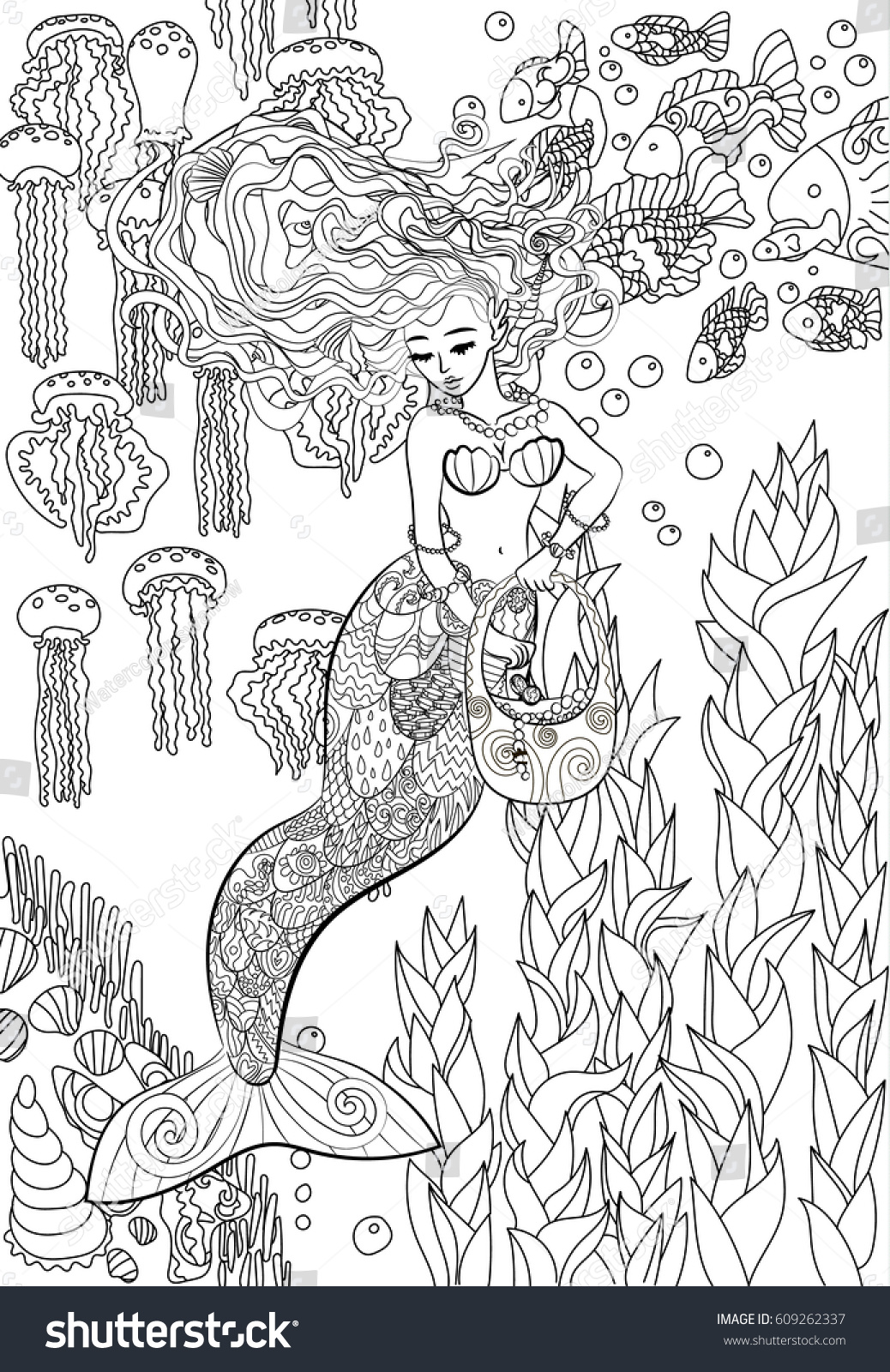 Patterned Illustration Of A Mermaid In The Zentangle Style Drawing With Beautiful Underwater Girl