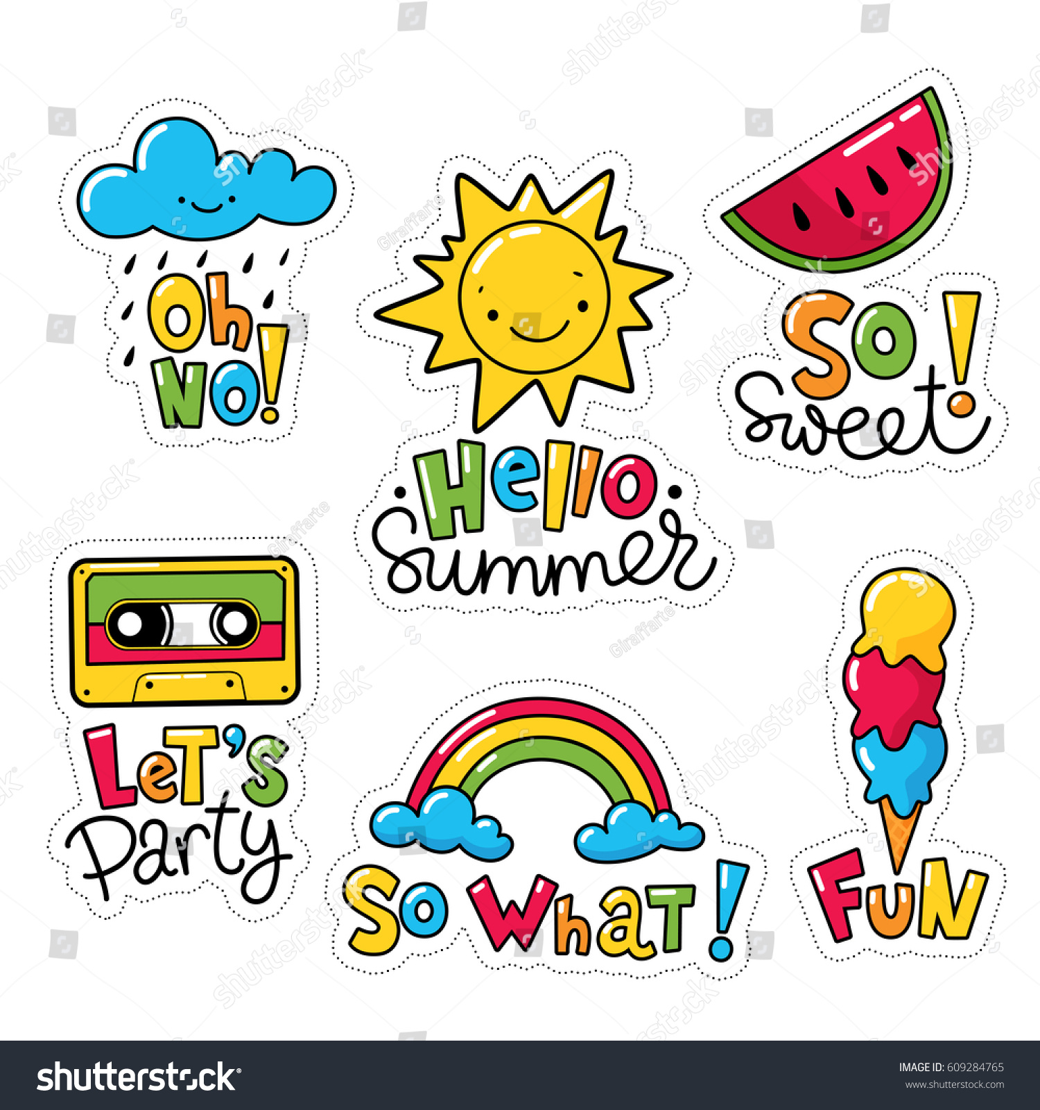 Vector set cool stickers patches food stock vector 609284765 vector set of cool stickers patches with food and summer symbols weather symbols with biocorpaavc Image collections