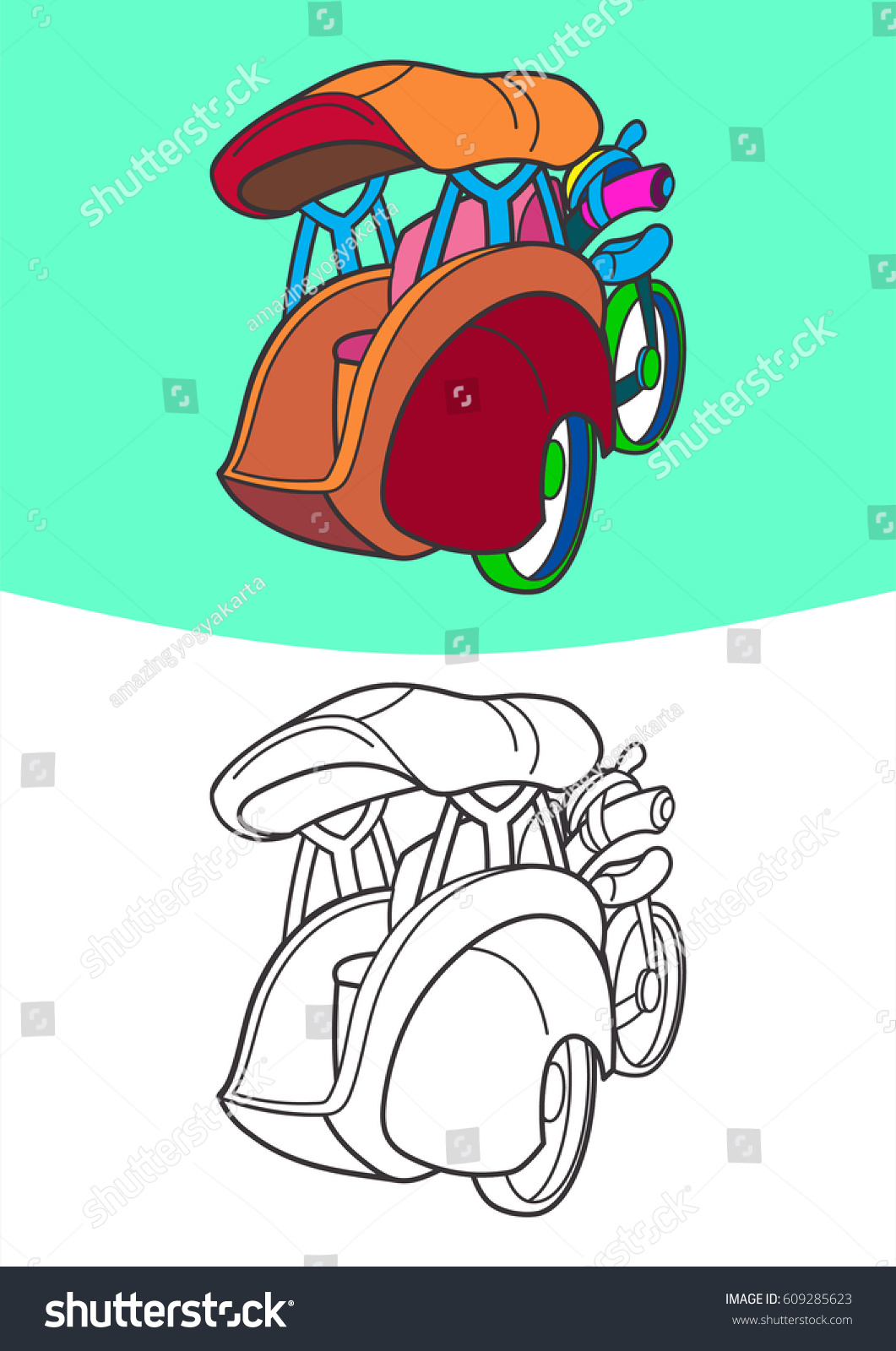 coloring vehicle children transportation illustration kids stock