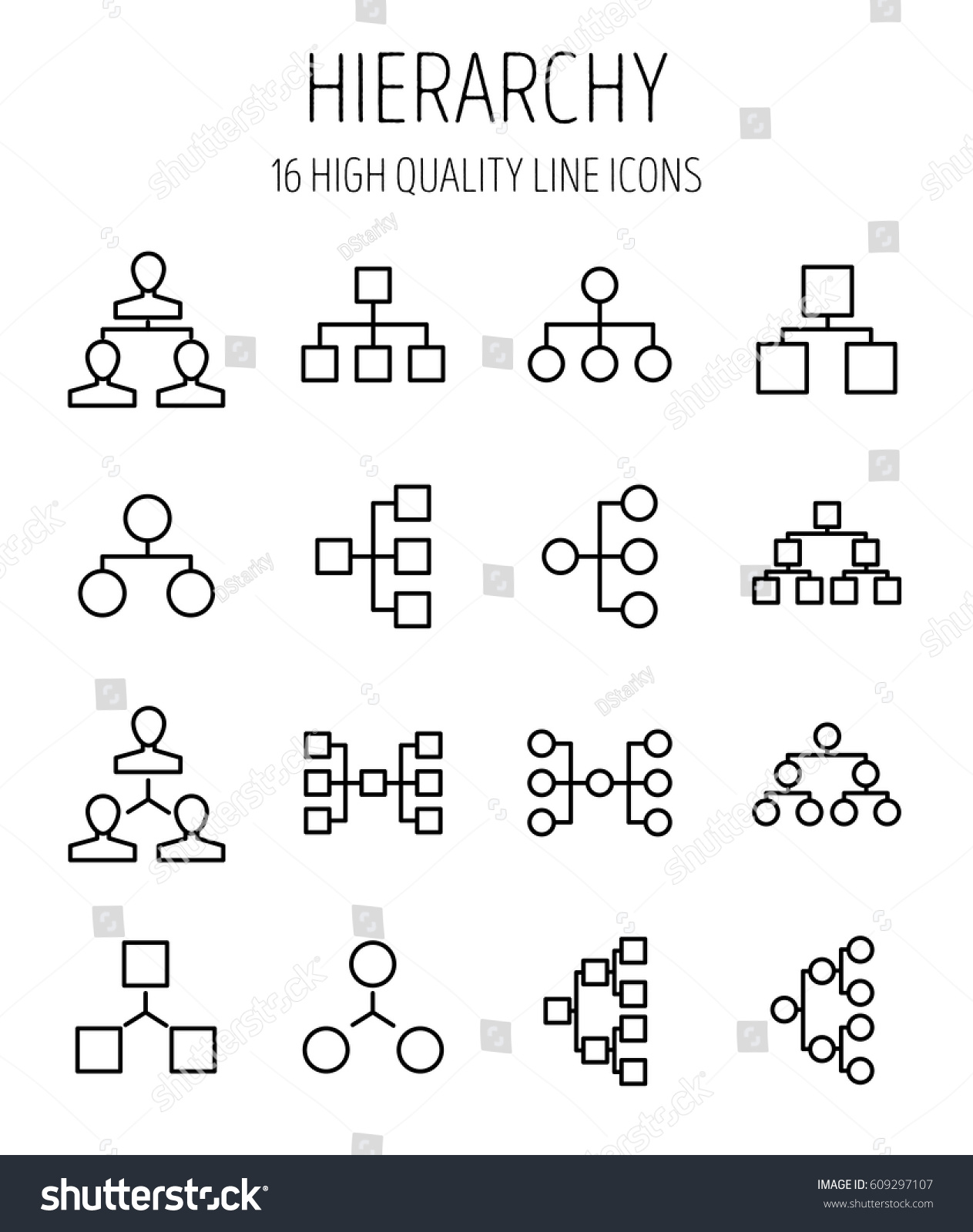 Set hierarchy icons modern thin line stock vector 609297107 set of hierarchy icons in modern thin line style high quality black outline sctructure symbols buycottarizona