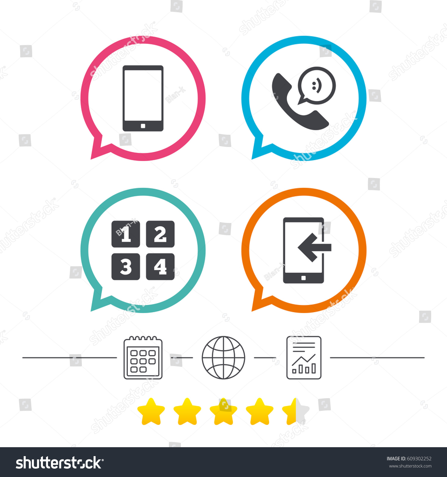 Phone Icons Smartphone Incoming Call Sign Stock Vector 609302252