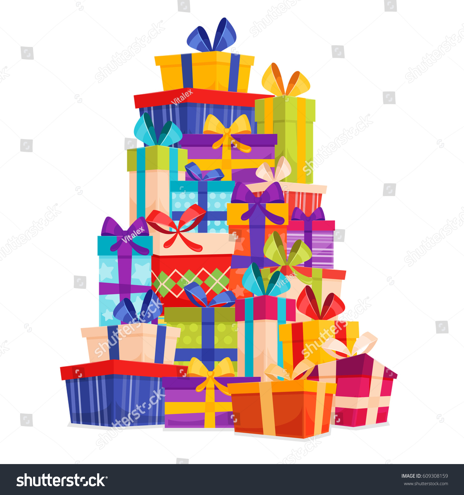 Big pile colorful wrapped gift boxes stock vector 609308159 big pile of colorful wrapped gift boxes lots of presents mountain gifts set negle Images