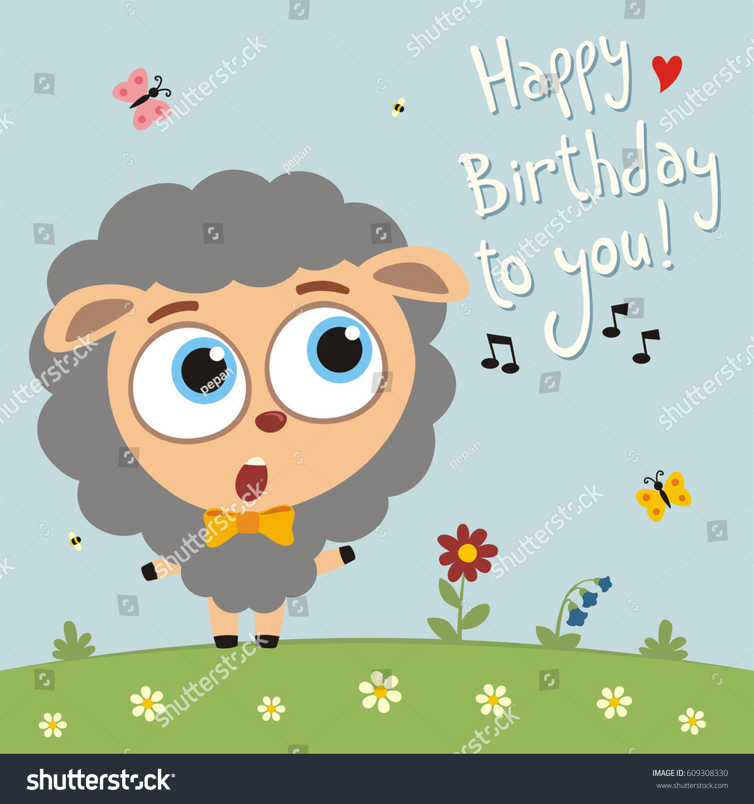 Funny Sheep Sings Song Happy Birthday Stock Vector Royalty Free