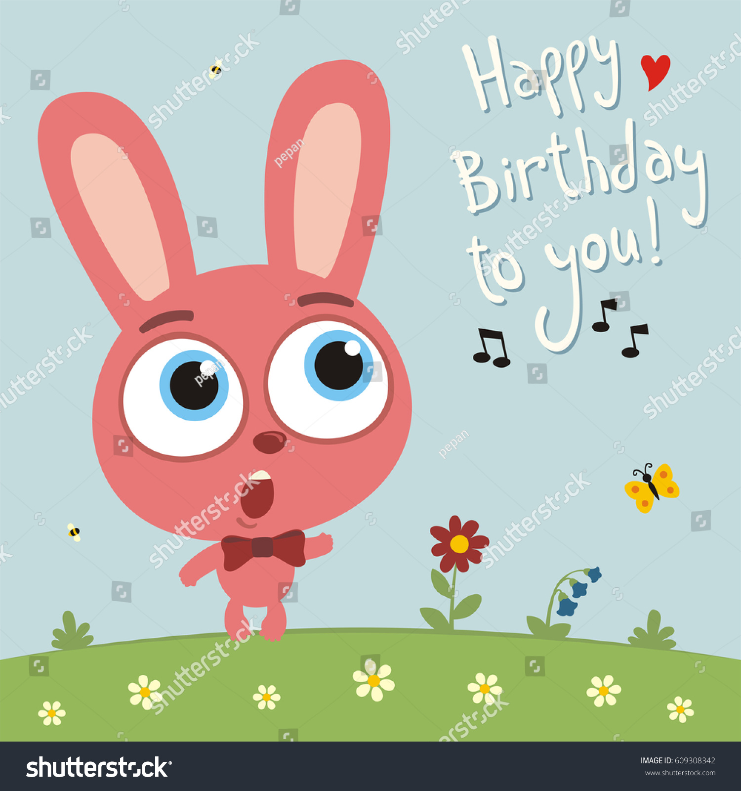 Happy Birthday You Funny Bunny Rabbit Vector 609308342 – Birthday Singing Card