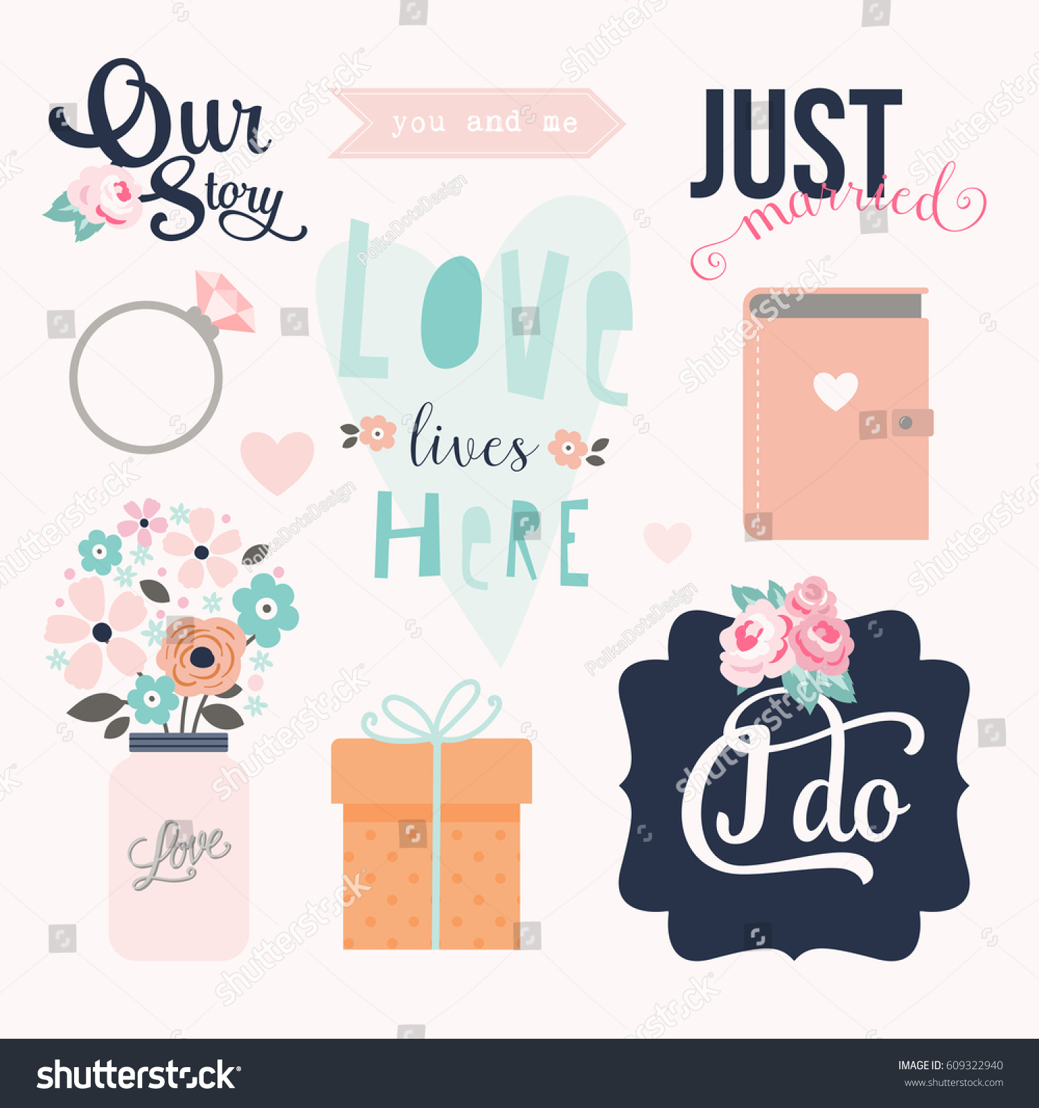 Love Stickers Signs Symbols Objects Templates Stock Vector Royalty