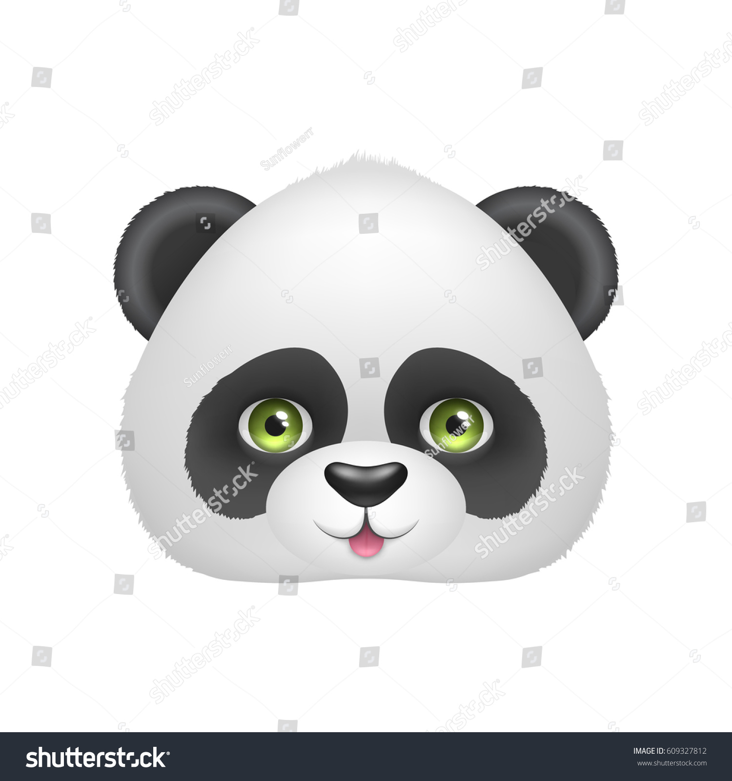 Panda Baby Face Smile Cute Asian Stock Vector 609327812 ...