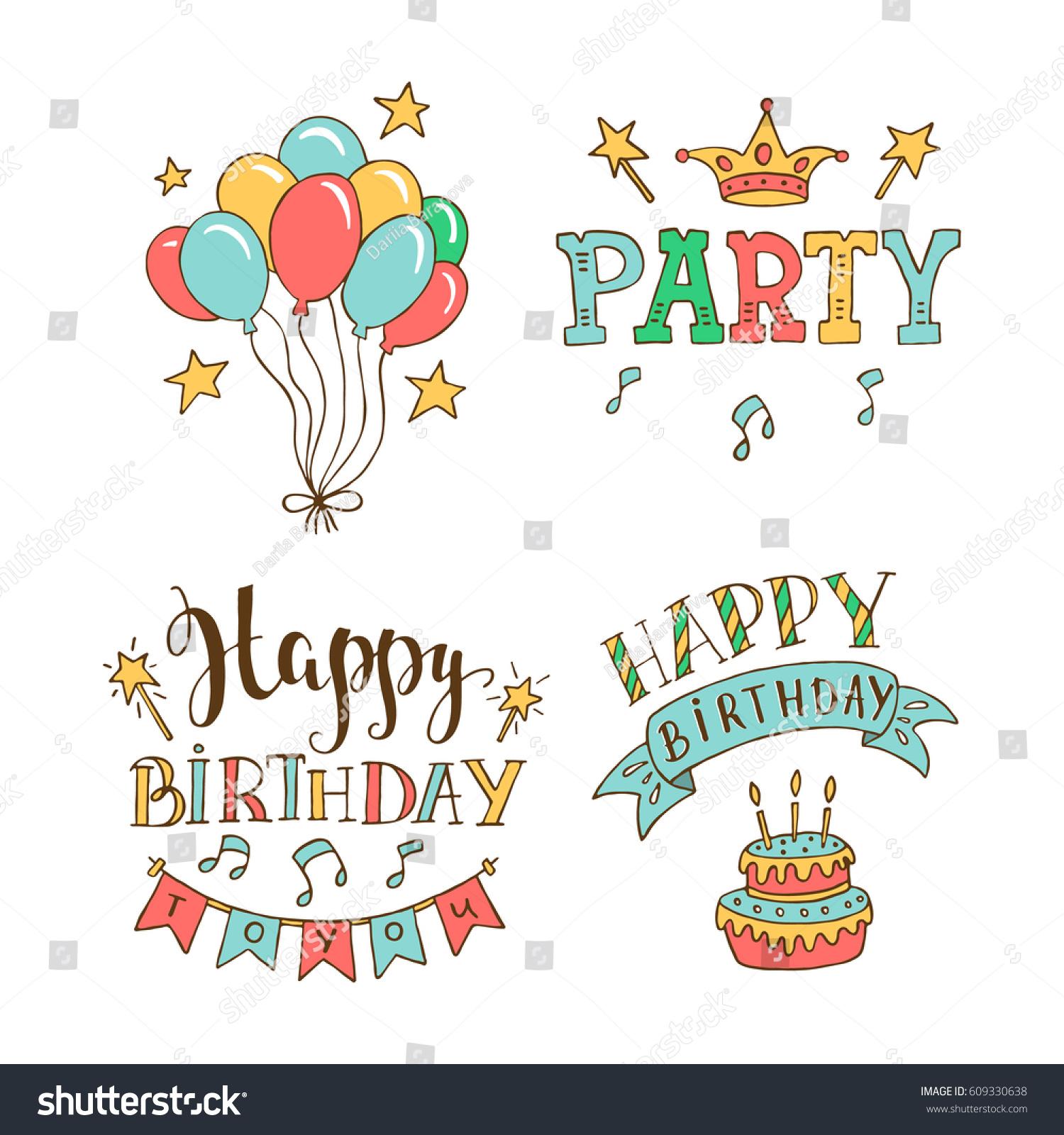 Set Birthday Hand Drawn Illustrations Greeting Stock Vector Royalty