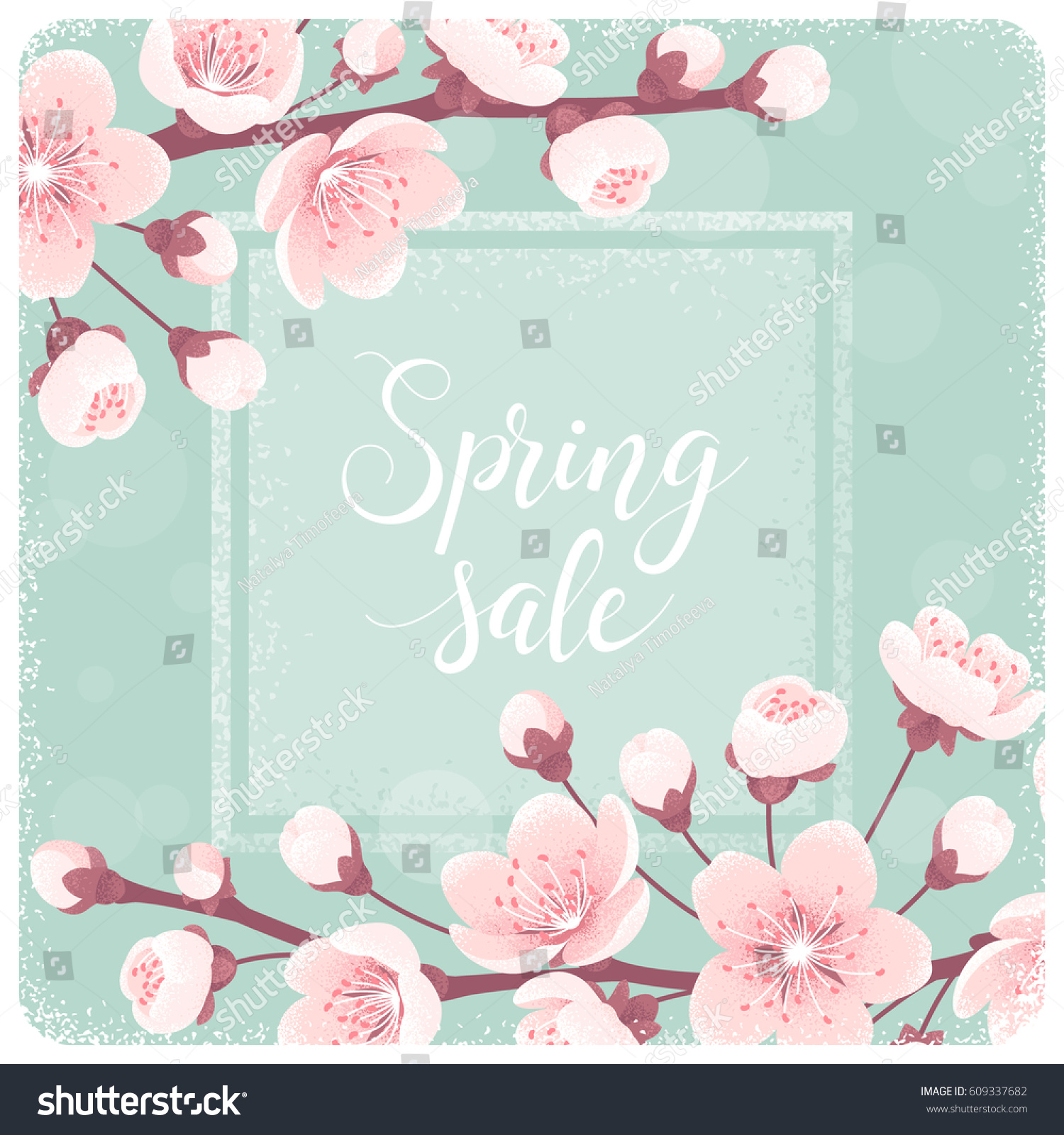 Template cherry blossom spring flowers spring stock vector royalty template with cherry blossom spring flowers spring sale lettering retro vector illustration mightylinksfo