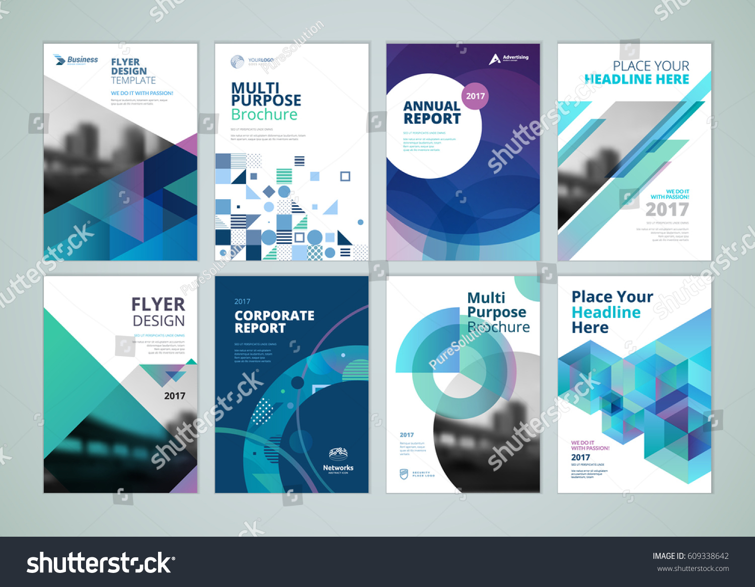 brochure annual report flyer design templates stock vector royalty