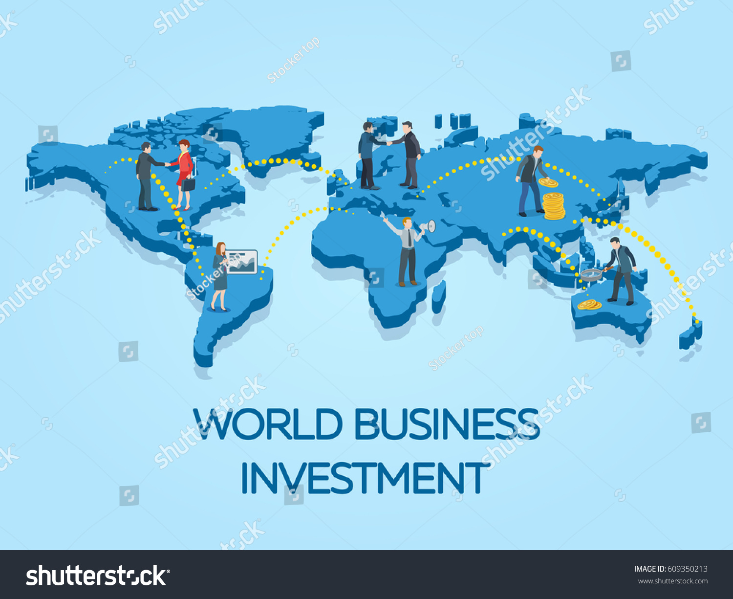 People on world map business startup stock vector hd royalty free people on the world map business start up work moments flat 3d banner gumiabroncs Gallery