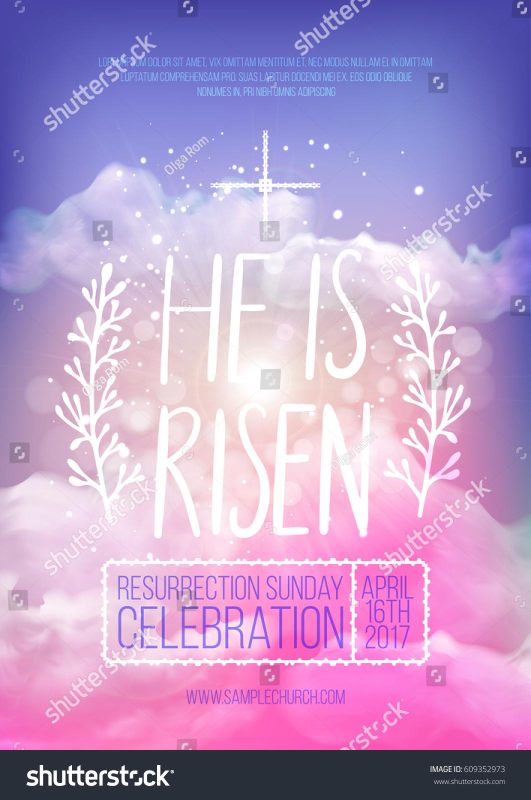 he risen vector easter religious poster stock vector 609352973