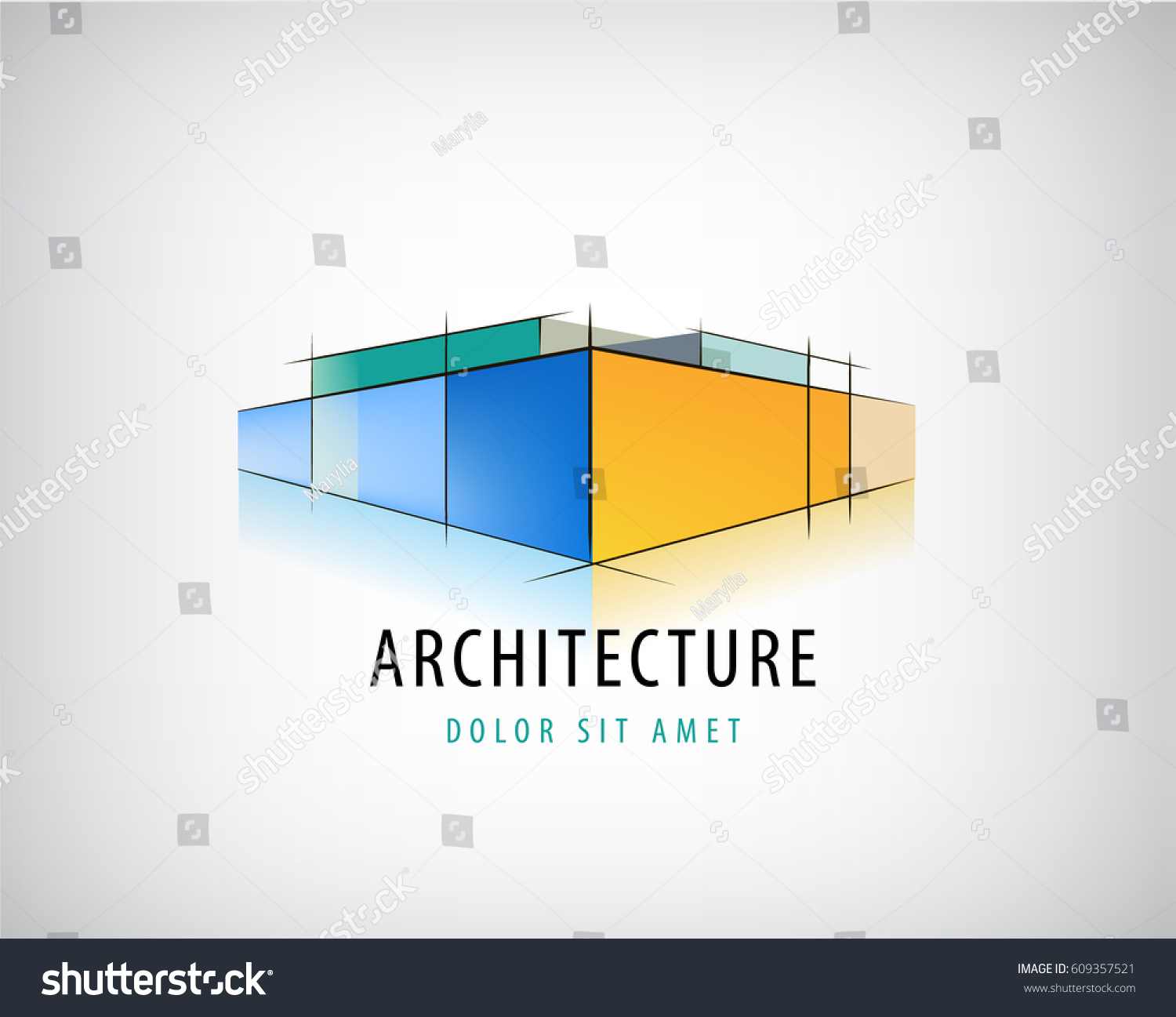 House design logo - Vector Abstract 3d Architecture Sign Building Plan Logo House Design Structure Icon Isolated
