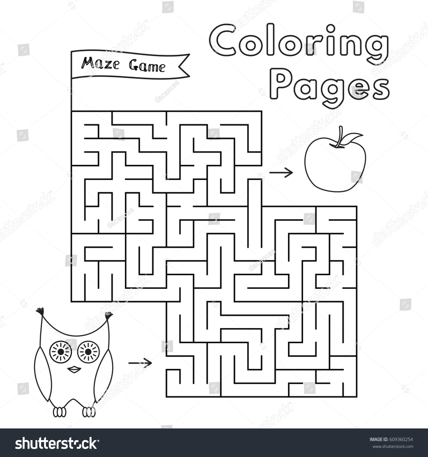 Cartoon Owl Maze Game Vector Coloring Book Pages For Children