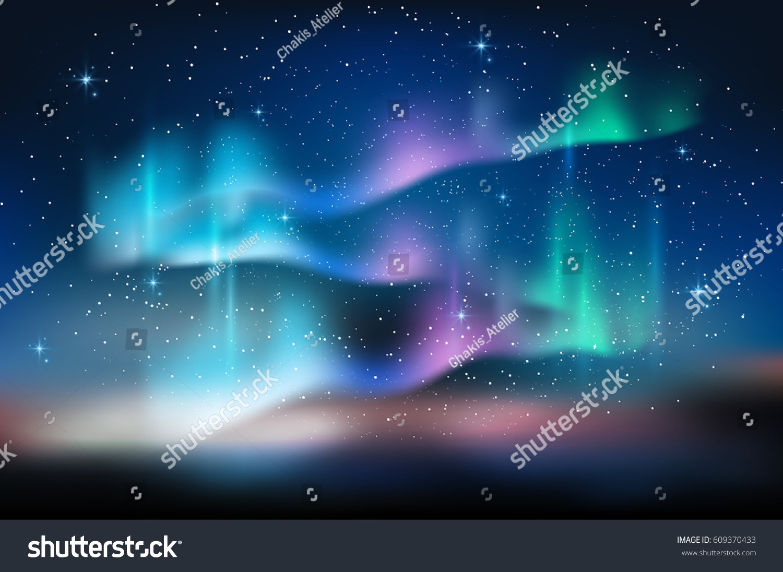Aurora Blue Sky Star Form Milky Stock Vector 609370433 - Shutterstock