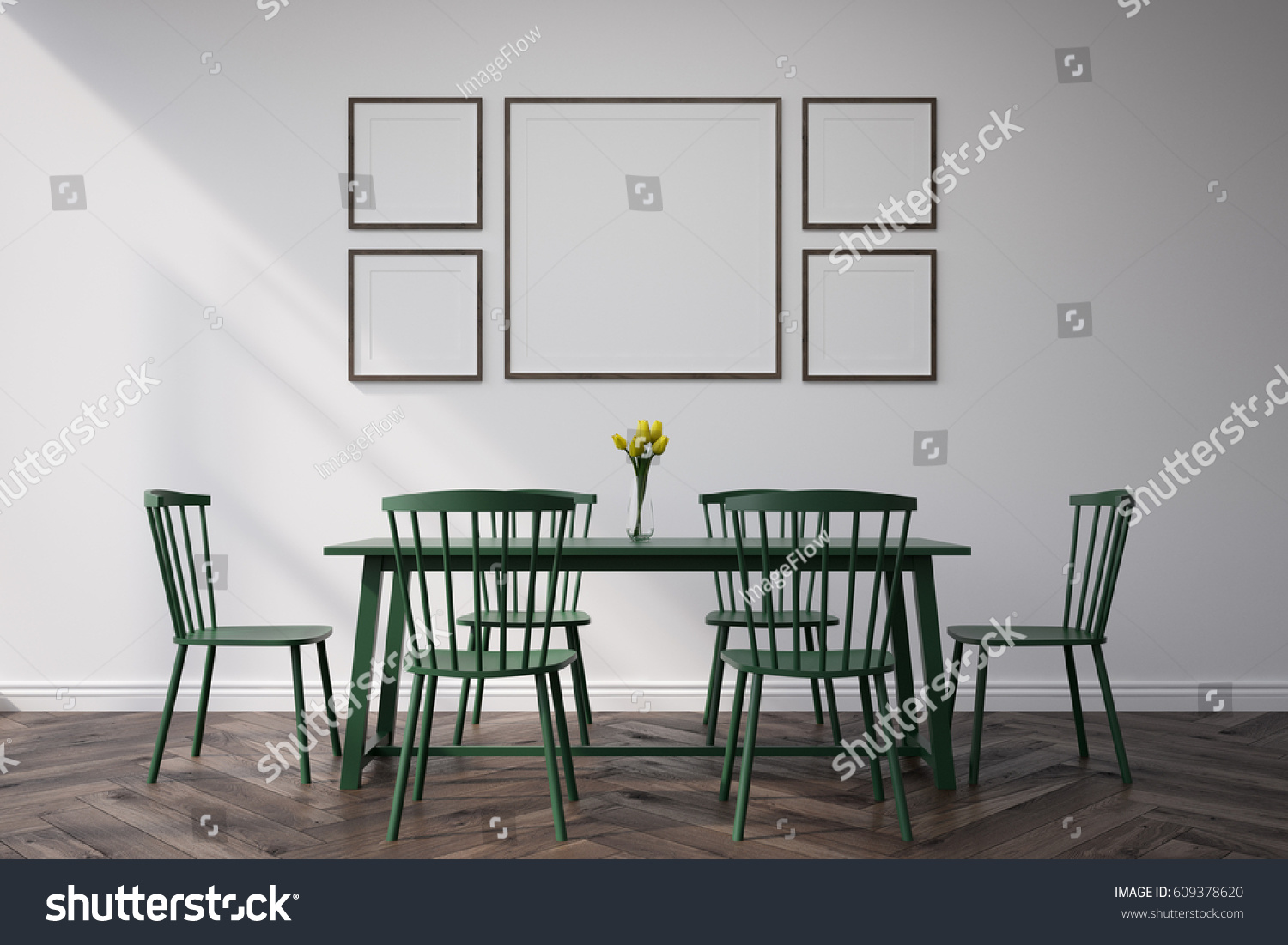 Dining room interior long table four stock illustration for What to hang on dining room walls