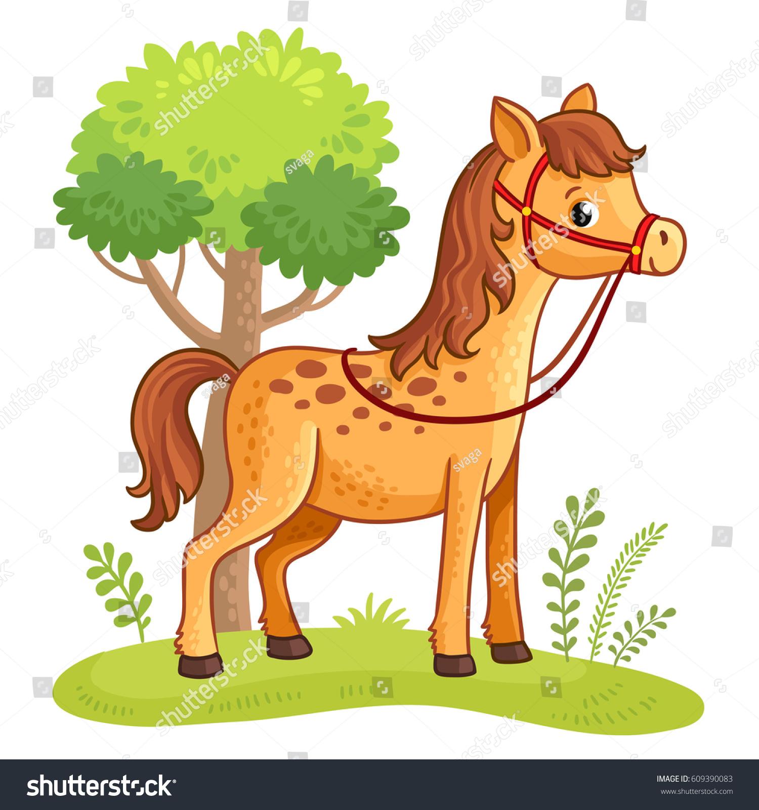cartoon horse standing meadow next tree stock vector 609390083
