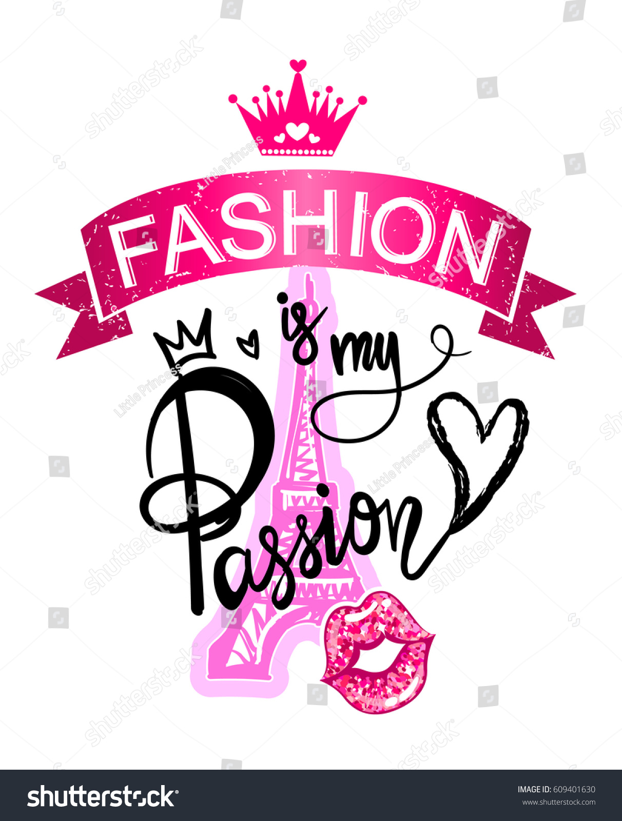 Fashion My Passion Girlish Fancy Design Stock Vector ...