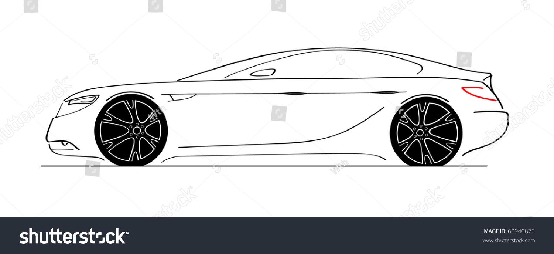 luxury car side view sketch car designed by myself stock vector illustration 60940873. Black Bedroom Furniture Sets. Home Design Ideas