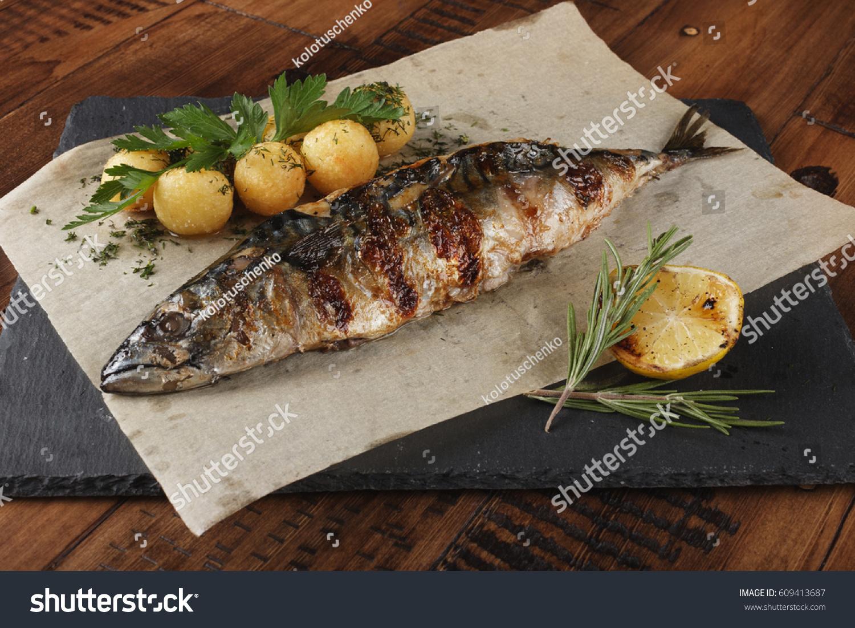 Fried Grilled Mackerel Fish Stuffed Lemon Stock Photo ...