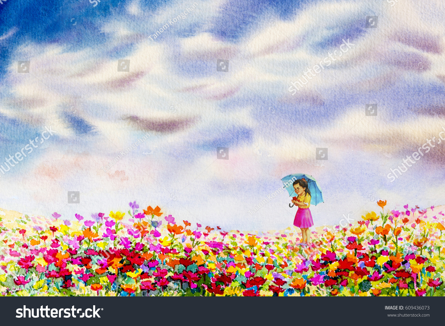 Girl hold teddy bears stand looking stock illustration royalty girl hold teddy bears stand looking at the daisy flowers garden watercolor painting landscape blue izmirmasajfo