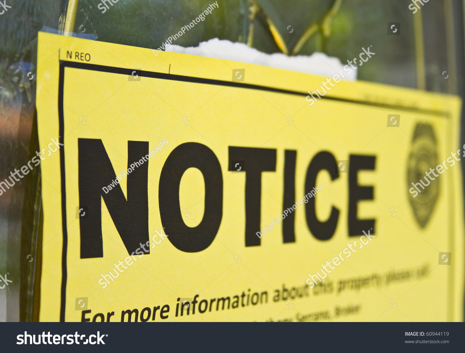 Notice Sign Posted On Condemned House Stock Photo 60944119