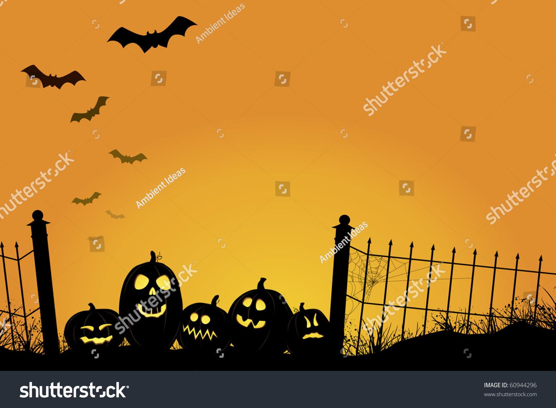 Spooky Sunset Jack Olanterns Bats Fence Stock Vector ...