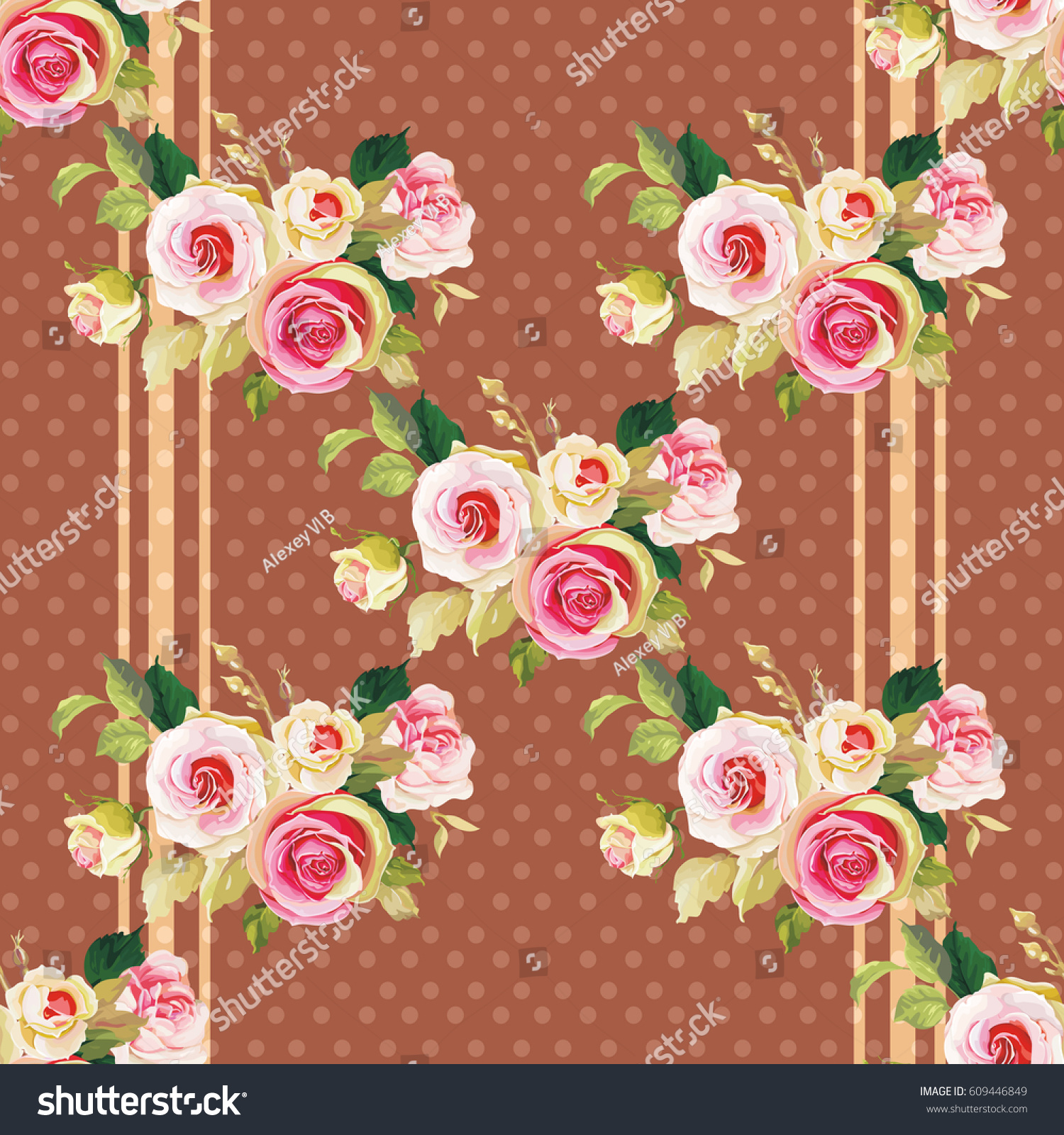 Seamless Floral Pattern Wonderful Roses Vector Stock ...