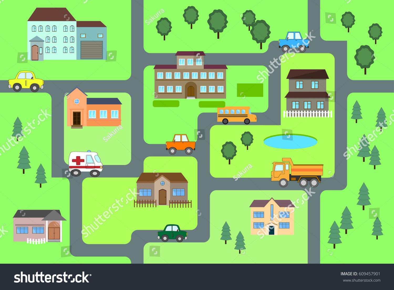 Cartoon Map Seamless Pattern Roads Cars Stock Vector