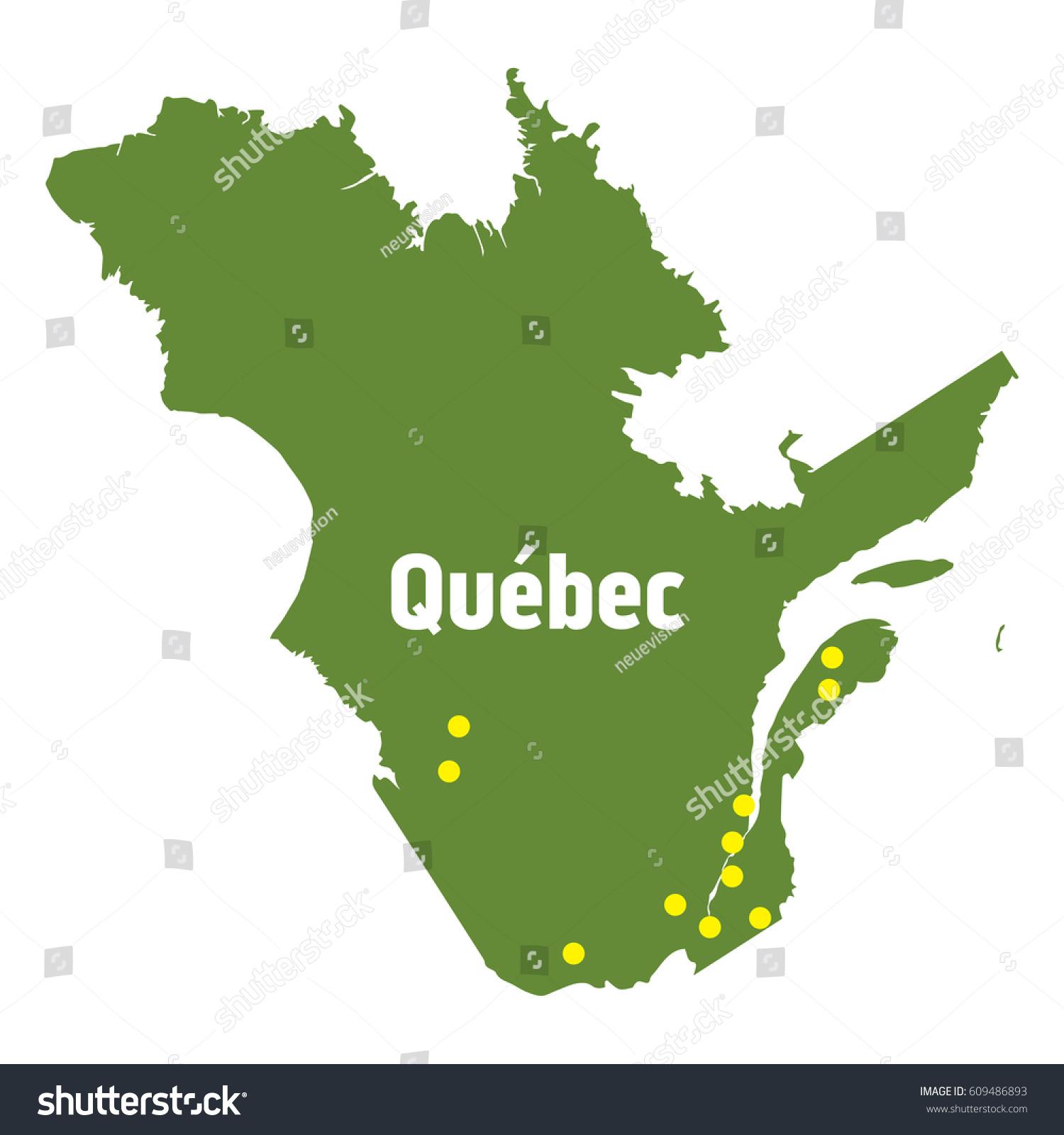 Quebec Map Major Cities Stock Vector Shutterstock - Quebec map with cities