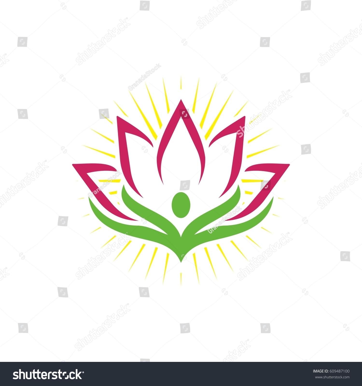 Lotus Flower Logo Design Stock Vector 609487100 Shutterstock