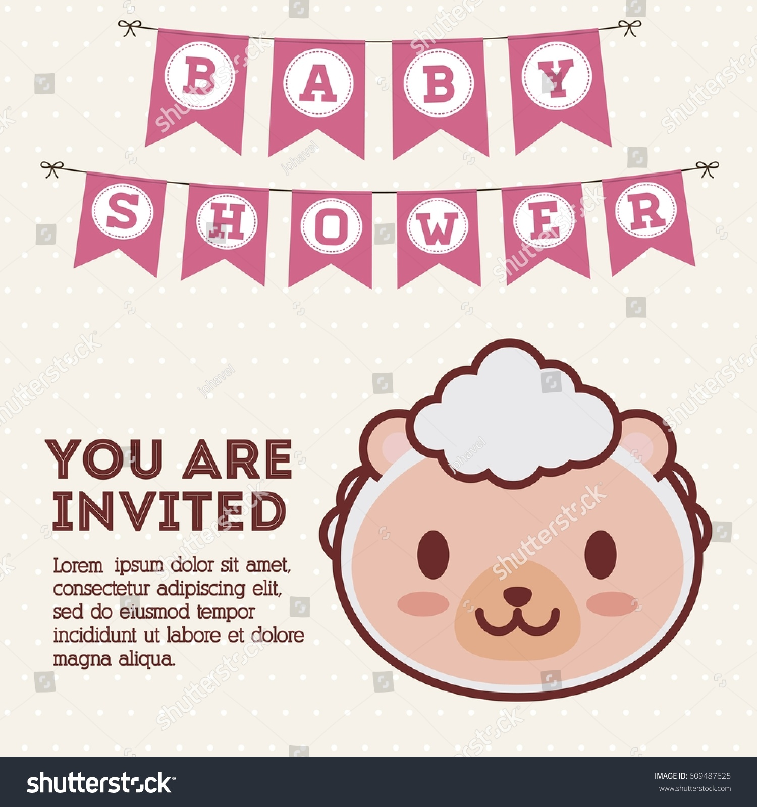 Baby Shower Invitation Sheep Icon Colorful Stock Vector HD (Royalty ...