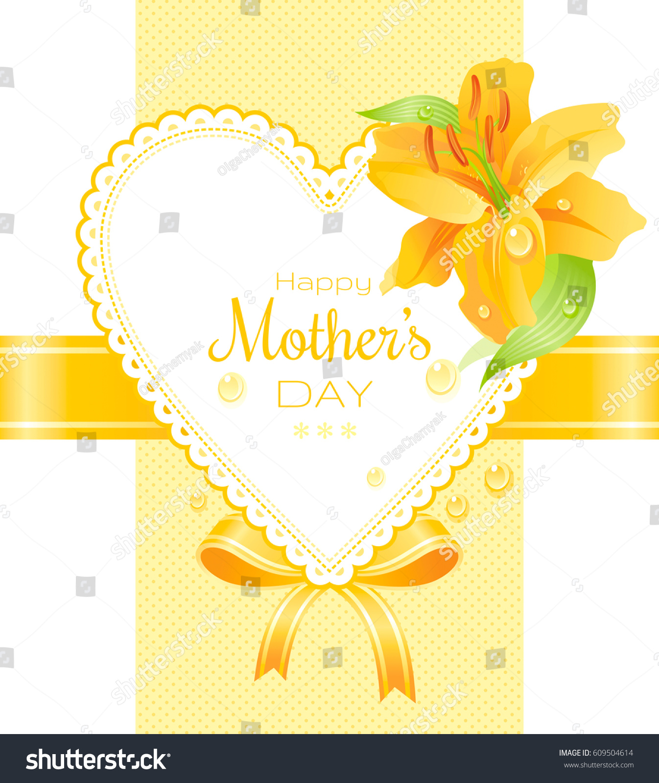 Garden yellow lily dew drops flower stock vector 609504614 for Classy mothers day cards