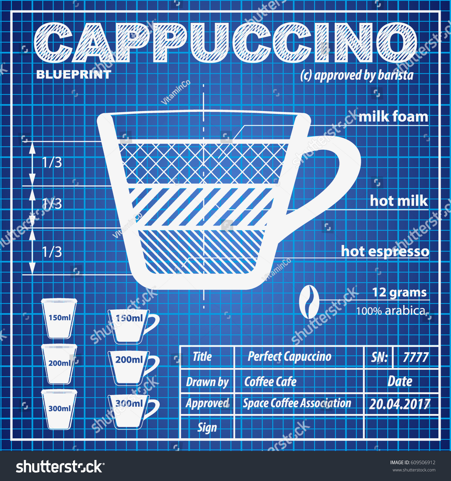 Coffee espresso composition making scheme blueprint stock vector hd coffee espresso composition and making scheme in blueprint paper drawing style print background composition of malvernweather Choice Image
